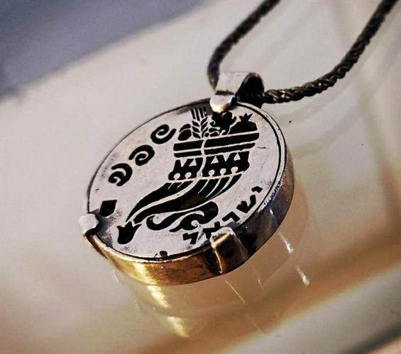 מטבע העצמה, To Be מאת ציפורה אוריה,  תליון כסף בהשראת מטבע עתיק מימי הורקנוס עם חריטת סמל קרן השפע ובו שבעת המינים.
