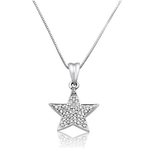 שרשרת ותליון זהב לבן 14 קרט כוכב משובץ יהלומים 0.25 קראט