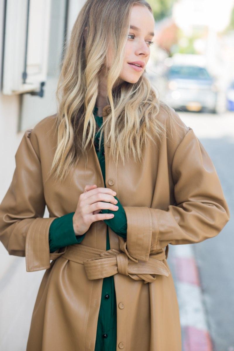 מעיל שמלה דמוי עור כאמל