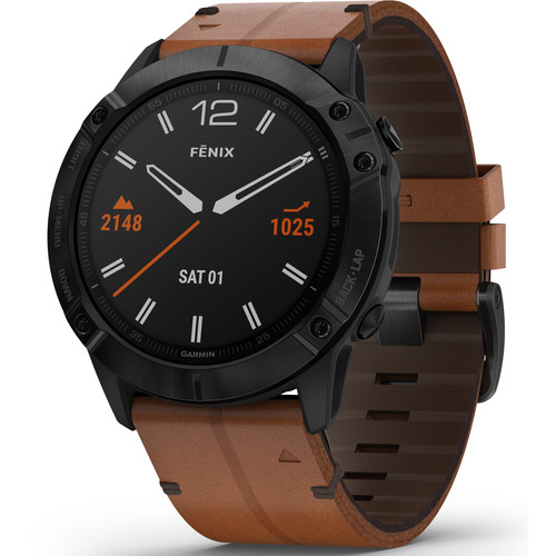 שעון דופק Garmin Fenix 6X Sapphire Black DLC with Chestnut Leather Band