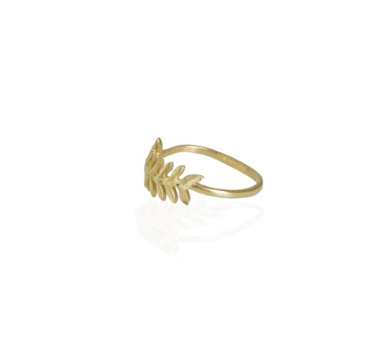 טבעת זהב עלים