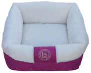 מיטה מלבנית עם פרווה ורוד/לבן 21*60*60