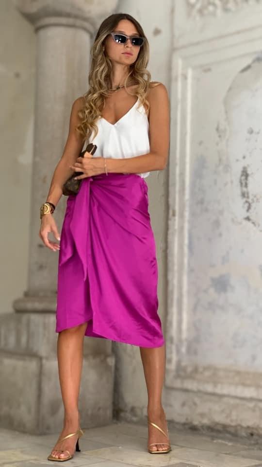 חצאית מעטפת סגולה