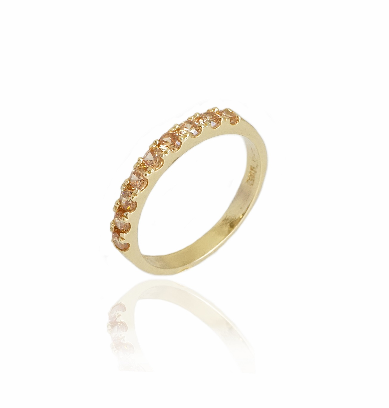 טבעת איטרניטי זרקונים שמפיין בזהב 14 קראט|טבעת זהב משלימה
