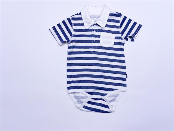 בגד גוף תינוקות פסים כחול לבן