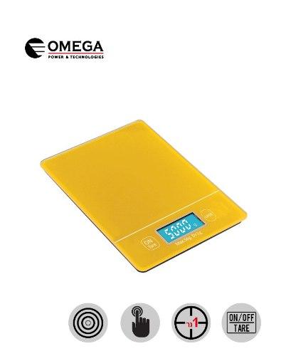 משקל מטבח עם מסך מגע מואר של חברת Omega בצבע צהוב