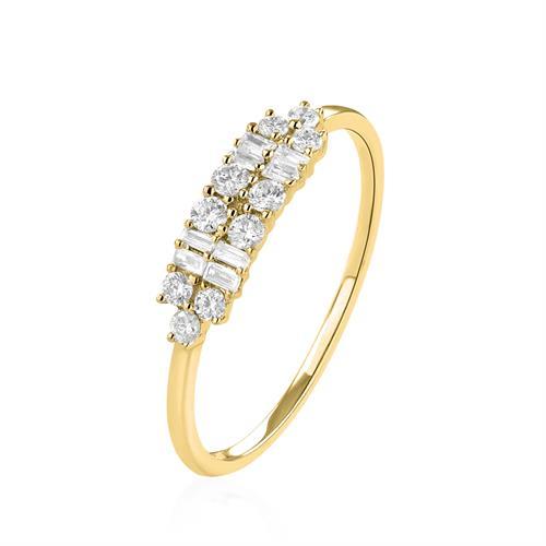 טבעת יהלומים זהב צהוב 14 קראט