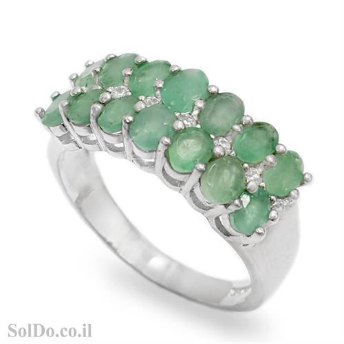 טבעת מכסף משובצת אבני אמרלד וזרקונים RG1645 | תכשיטי כסף 925 | טבעות כסף
