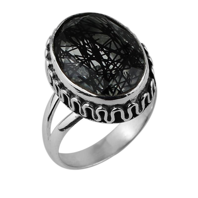 טבעת כסף RG5455 משובצת BLACK TOURMALATED QUARTZ
