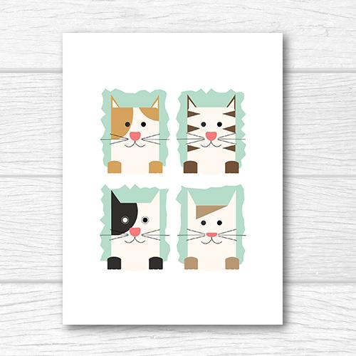 הדפס רביעיית חתולים לחדרי ילדים