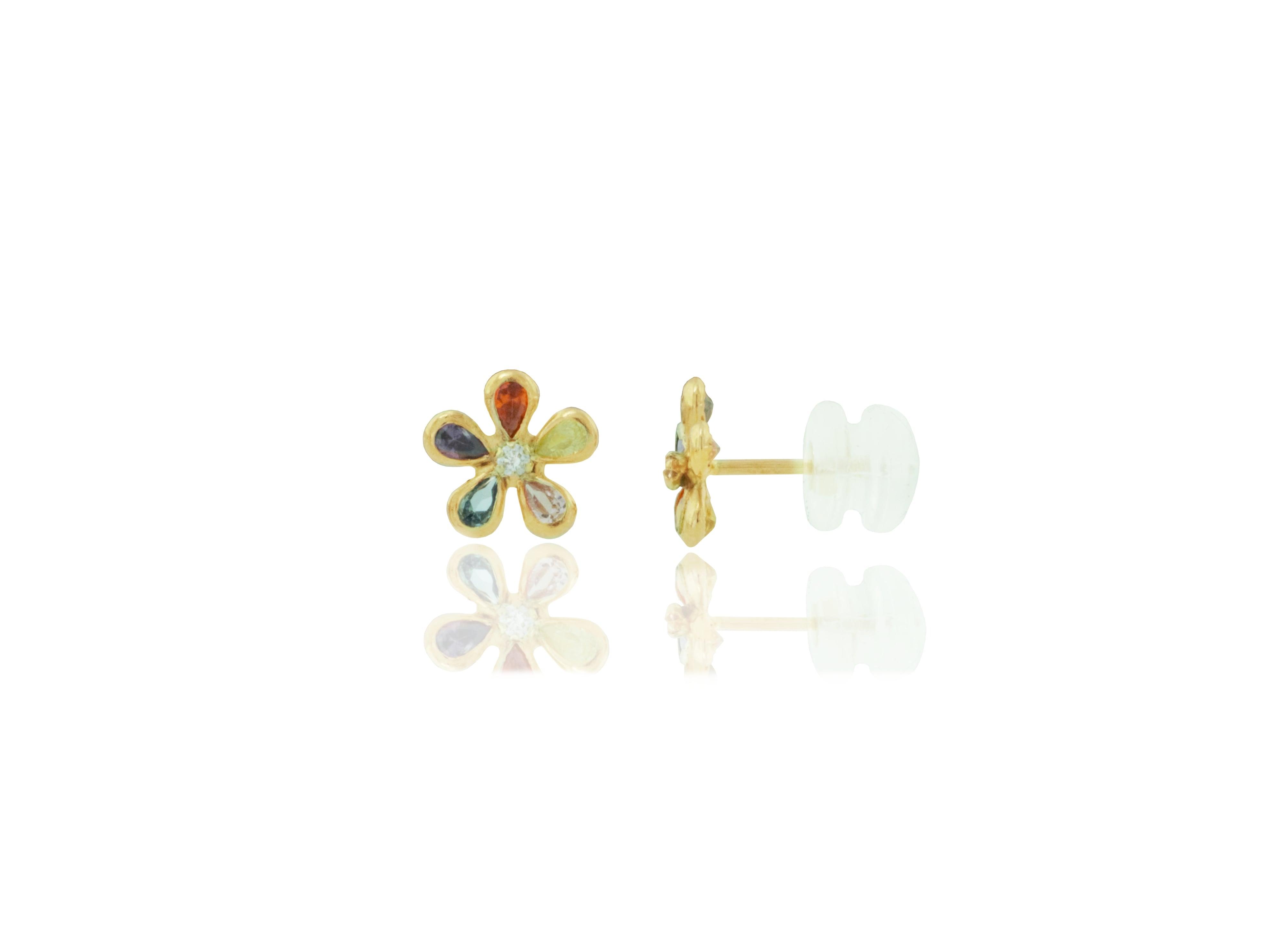 עגילי זהב 14 קרט בסגנון פרח עם אבני חן