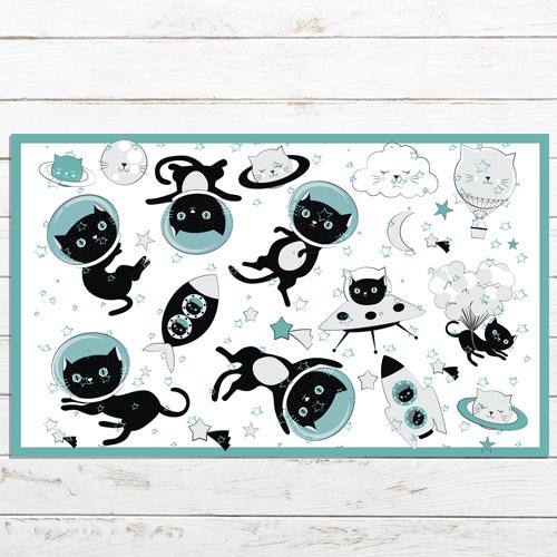 שטיח PVC | דגם חתולים בחלל