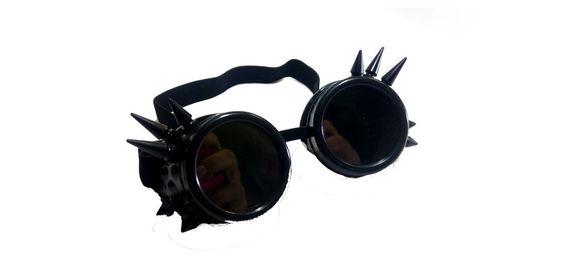 משקפי סטימפנק שחורים עם ספייקים steampunk goggles