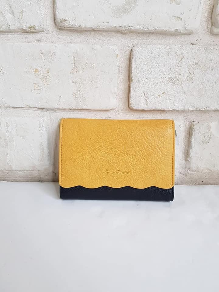 ארנק דמוי עור בינוני שחור/צהוב 4058
