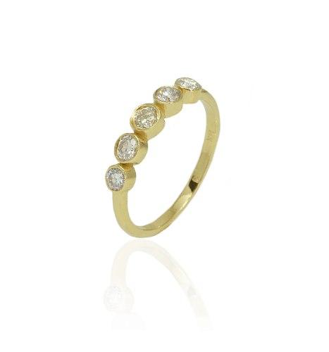 טבעת זהב 5 יהלומים 0.50 קראט