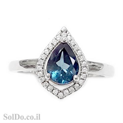 טבעת מכסף משובצת אבן טופז כחולה בצורת טיפה וזרקונים RG5980 | תכשיטי כסף 925 | טבעות כסף