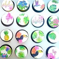 Tropical Garden Mat | palm leaves botanical print | Lovebirds | Tropical Summer Wedding Stamp