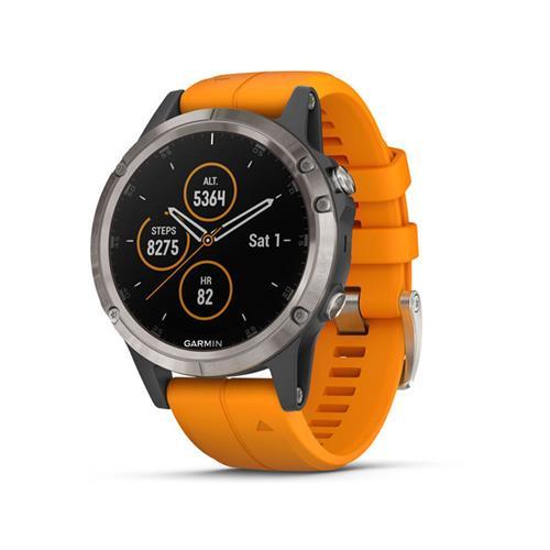 שעון דופק גרמין Garmin Fenix 5 Plus Sapphire Titanium with Solar Flare Orange Band