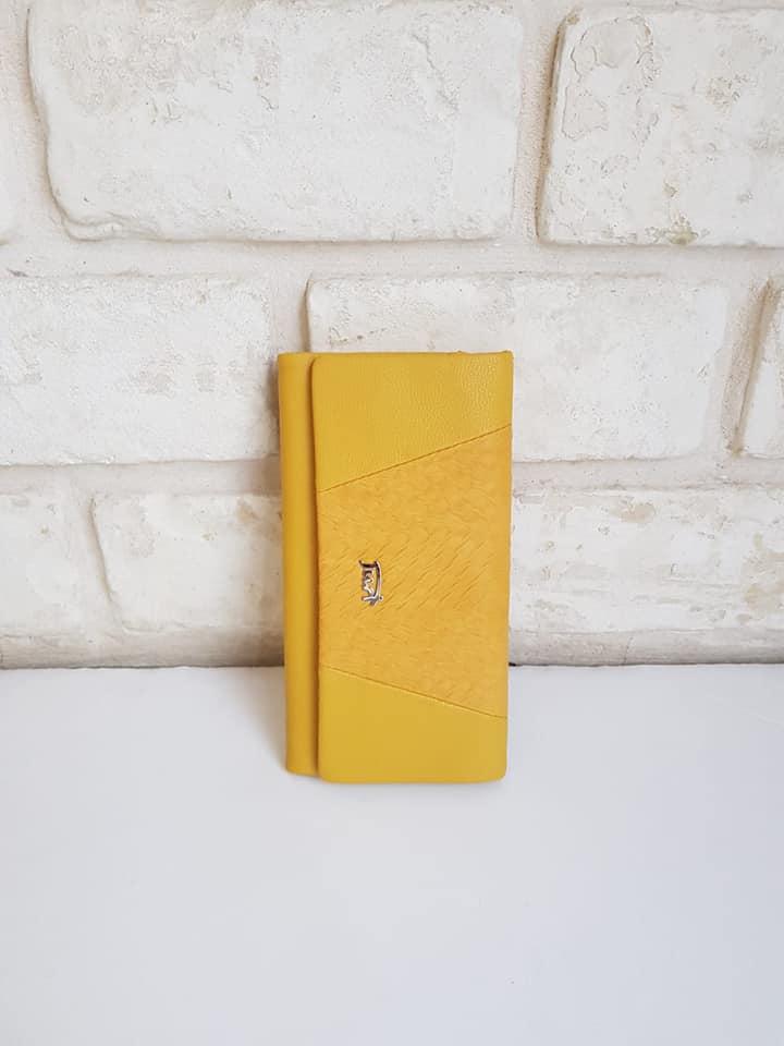 ארנק דמוי עור בינוני צהוב 4022
