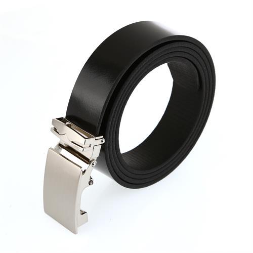 חגורה עור שחור קלאצ' כסוף בהיר