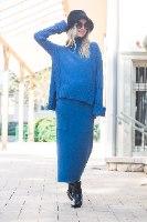 חליפת סריג חצאית מקסי דגם קייסי