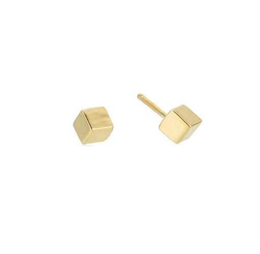 עגילי קוביית קטנים זהב 14 קרט
