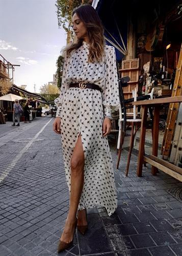 שמלת סופיה פרחוני לבן