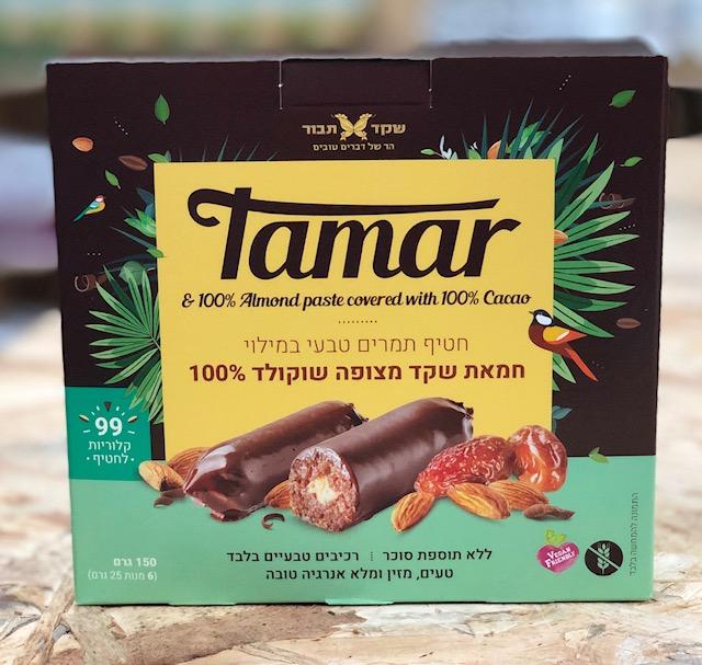 חטיף תמרים במילוי חמאת שקד מצופה שוקולד