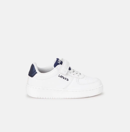 LEVIS נעל סניקרס לבנה לוגו כחול מידות 24-29