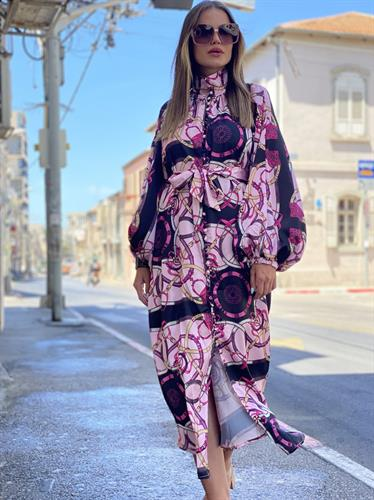 שמלת קוואלי סאטן מודפס