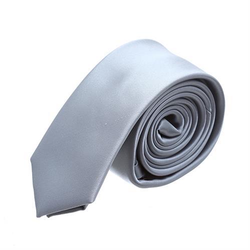 עניבה חלקה אפור כסף