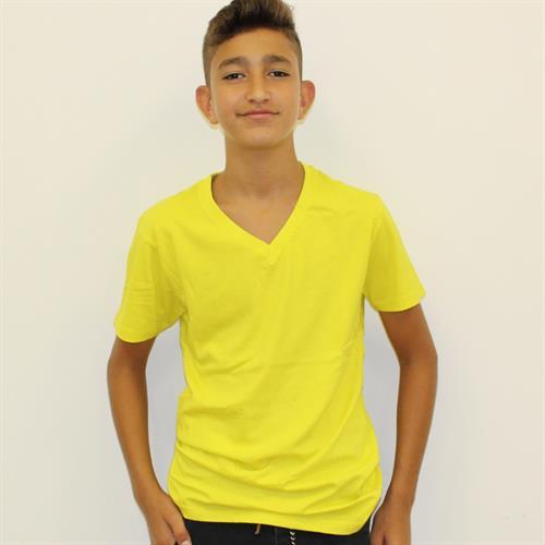 חולצת בית ספר בנים וי צהוב