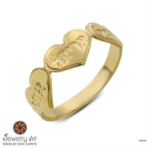טבעת לבבות טריו