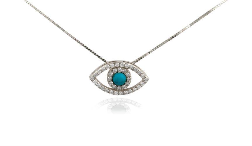 שרשרת עין הרע עם יהלומים וטורקיז בזהב 14 קראט