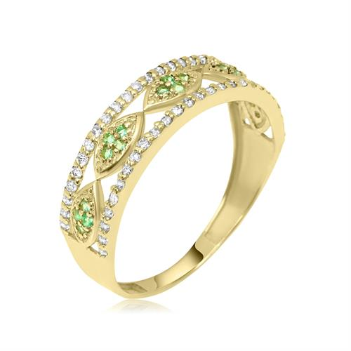 טבעת זהב מידי יהלומים ואמרלדים