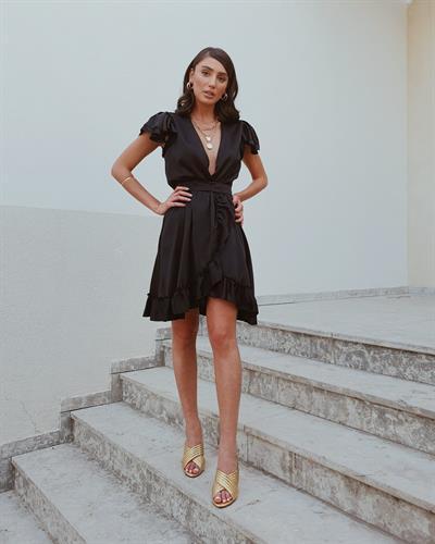 שמלת פנלופי מעטפת - שחורה