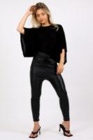 מכנס בויפרנד דמוי עור שחור