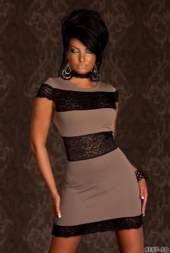 שמלת מעצבים סקסית נמתחת משולבת תחרה ONE SIZE