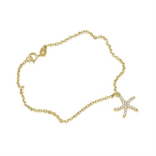 צמיד זהב עם צ'ארם כוכב ים זרקונים נופל