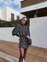 שמלת סניוריטה - שחורה פרחונית