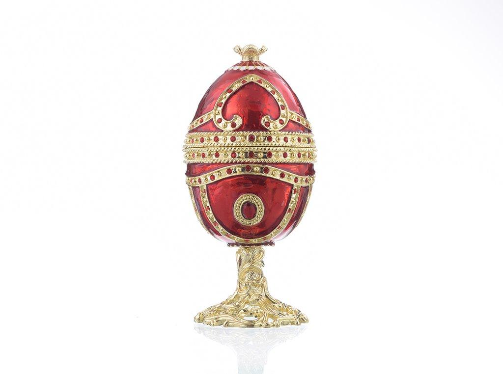 קופסת תכשיטים פברג׳ה אדום עם לב לבן