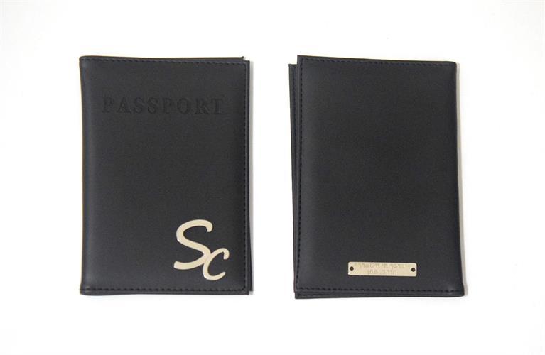 כיסוי לדרכון דמוי עור שחור עם הקדשה אחורית