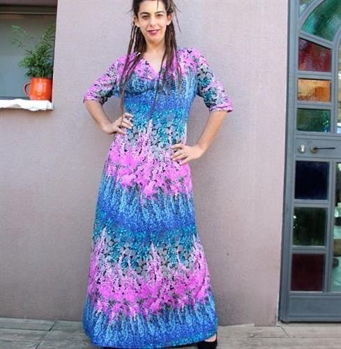 שמלת מקסי סבנטיז ילדת הפרחים מידה L/XL