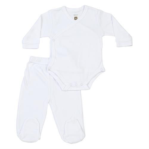 חליפת בגד גוף חזיה ומכנסיים לבן