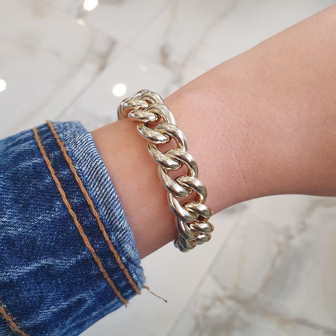 צמיד זהב לאישה בינוני חוליות איטלקי עבה מזהב 14 קאראט