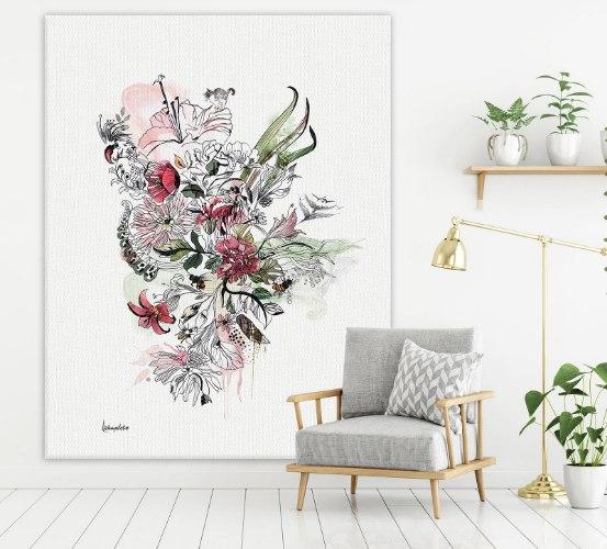 ציור על קנבס של פרחים