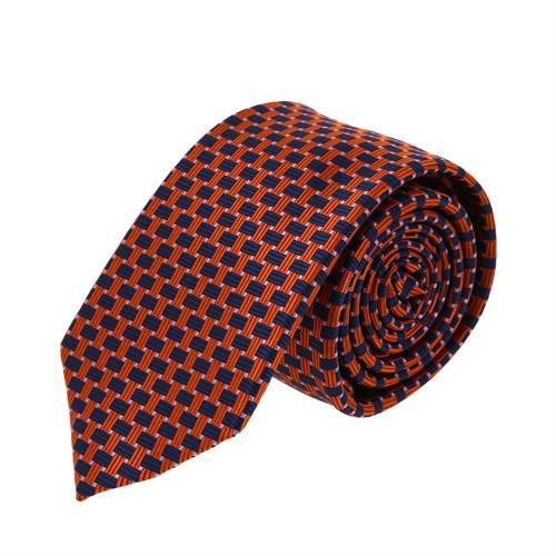 עניבה דגם מלבנים כתום כחול