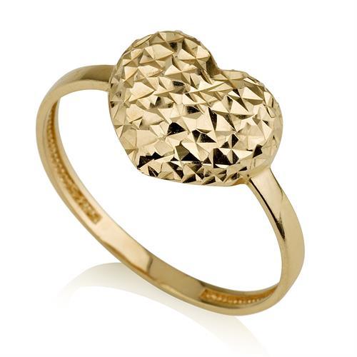 טבעת לב בשילוב חריטת יהלום