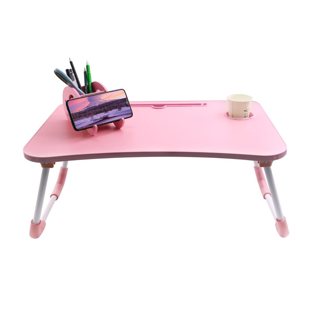 שולחן מתקפל למחשב נייד ורוד