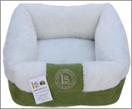מיטה מלבנית עם פרווה ירוק/לבן 17*40*40